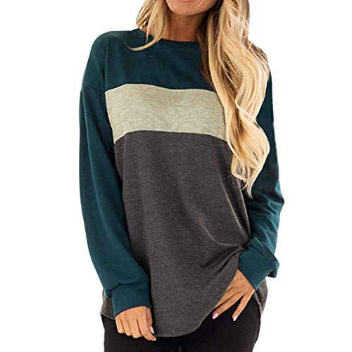 FEITONG Women's Long Sleeves Crew Neck Tunic Tees Casual Loose Color Block Tops ()