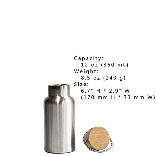 FidgetGear Premium Double Wall Vacuum Insulated Water Bottle Thermos with Bamboo Cap 12 oz (350 mL) from FidgetGear