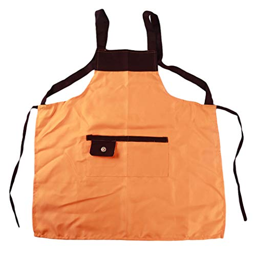 AFABE Adjustable Bib Apron with Pockets Patchwork Extra Long Strap Commercial Apron Unisex Orange