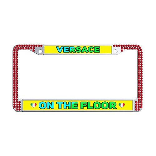 Nuoousol Bling Bling red Rhinestones License Plate Frames, Versace On The Floor Waterproof Glitter Rhinestones Crystal License Frames Plate for Cars with 2 Holes Screws Caps Set (Versace Bling)