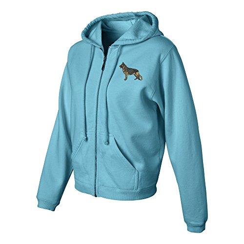 (German Shepherd Ladies Pigment Dyed Full Zip Hooded Sweatshirt Color Lagoon Blue, Size)