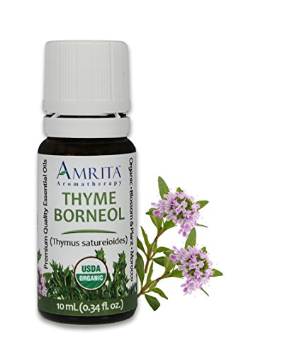 Amrita Aromatherapy Organic Thyme, Borneol Essential Oil, 100% Pure Undiluted Thymus satureioides, Therapeutic Grade, Premium Quality Aromatherapy oil, Tested & Verified, 10ML