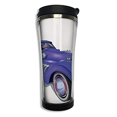 Customizable Travel Photo Mug with Lid - 8.45 OZ(250 ml)Stainless Steel Travel Tumbler, Makes a Great Gift by,Cars,Custom Vehicle with Aerodynamic Design for High Speeds Cool Wheels Hood Spoilers ()