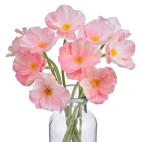 A Cup of Tea 10Pcs Modern Décor Pink Poppy Flowers 13.8'' Artificial Floral Centerpieces Garland Fake Silk Flores Artificiales para Decorativas Faux Plantas Home Room Wedding Decorations Real Touch (Red Flower That Looks Like A Poppy)