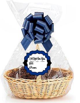 Dark Blue 2Pack Designer Cello Bags / Tags / Bows Cellophane Jumbo Gift Basket Packaging Bags Flat 30