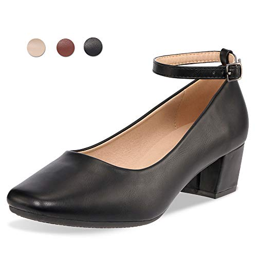 - CINAK Low Heel Chunky Heels Dress Shoes for Women- Comfortable Ankle Strap Pumps Square Toe Ladies Mary Jane