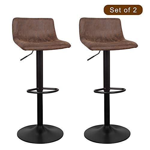 Suede Adjustable Bar Stools - WAYTRIM Adjustable Bar Stools (Set of 2) Modern Swivel Barstools Chairs, 360 Degree Swivel Counter Height Chair for Bar Kitchen Indoor Outdoor Use, Retro Brown