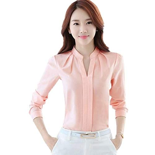 Keiraa Women Blouse Long Sleeve Office Lady Shirt Women Tops (Baby Pink, Small)
