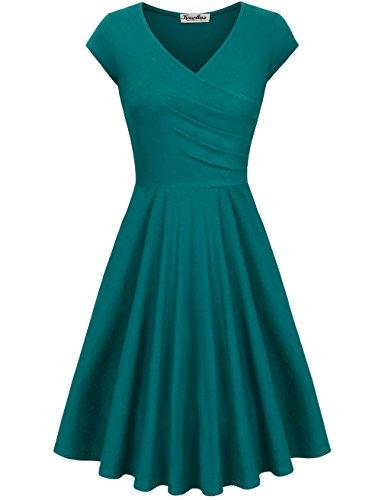 KASCLINO Formal Graduation Wedding Dress, Short Sleevel Flared Comfortable Cocktail Dresses Green-C XXL