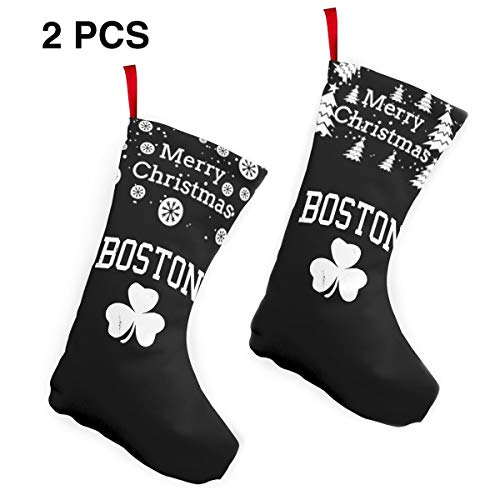 Boston Irish Shamrock Christmas Stockings Classic Santa Stockings Christmas Holiday Stockings 2 Pcs Set 12""