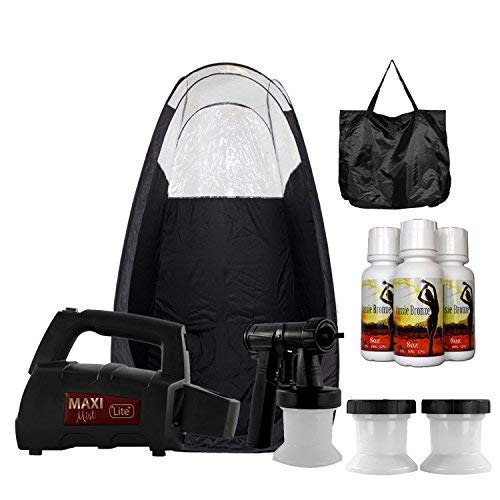 Maxi-Mist Lite Plus Sunless Spray Tanning KIT Tent Machine HVLP Airbrush Tan Maximist BLK ()