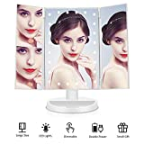 CHIMOCEE Makeup Mirror with 24 Led Lights, Upgraded Anti-Glare & HD Clarity, 1X/2X/3X Magnifying Tri-fold LED Vanity Mirror with Dimmable Touch Screen, Dual Power Supply