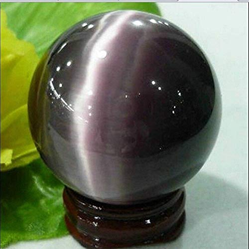 (Rare Natural Quartz Purple Cat Eye Crystal Healing Ball Sphere 40mm + Stand)
