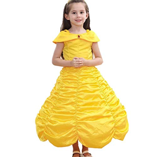 Girls Princess Belle Costume Dress Up with Gloves for Halloween Party -