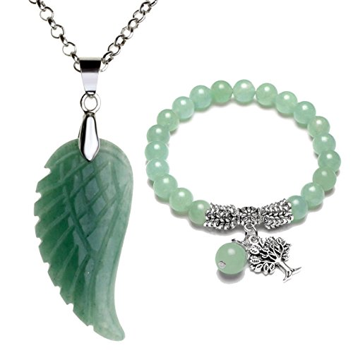 Top Plaza Reiki Healing Crystal Quartz Gemstones Jewelry Angel Wings Carved Stone Pendant Necklace Tree of Life Charm Stretch Bracelet Set-Green Aventurine