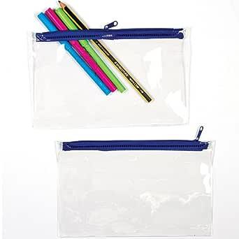 Estuches transparentes que los niños pueden decorar, personalizar y usar para guardar rotuladores y bolígrafos (pack de 1).: Amazon.es: Industria, empresas y ciencia