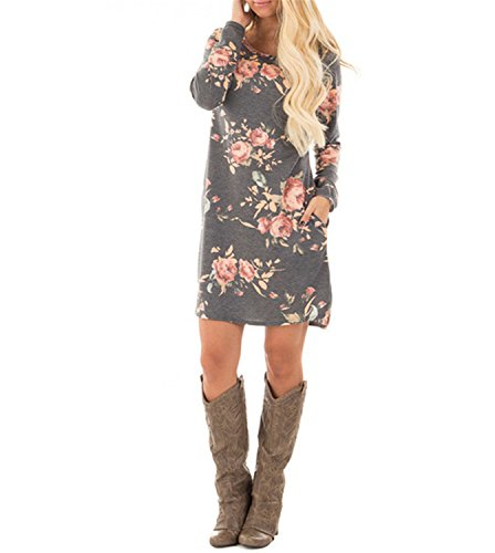 Henraly Full Long Sleeve Print Pink Floral Flower Gray Shift Women Summer Autumn Casual Straight Short Mini Bodycon Dress (50s Short Hairstyle)
