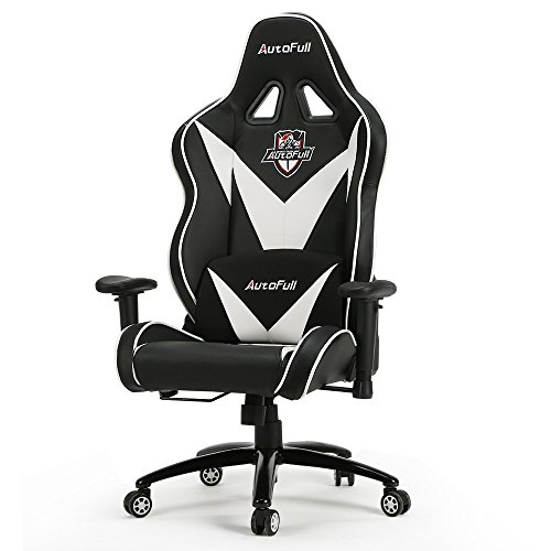 Video Game Chair, Autofull Large Size Gaming Chair, Ergonomic Gaming Office Chair With Lumbar Support and Headrest (White)