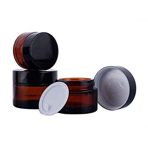 4PCS 30ML Amber Glass Refillable Cosmetic Cream Jars Pot Empty Bottle Container with Screw Lid (30Gram)