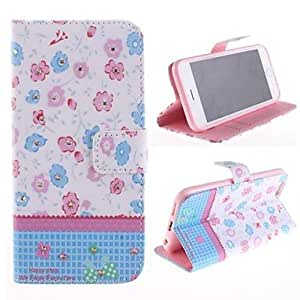 GJY Colorful Flowers Set Auger Design PU Leather Case with Card Slot and Stand for iPhone 6