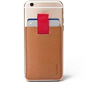 Distil Union - Wally Universal - Tarjetero secreto para smartphones - Bolsillo con adhesivo y lengüeta - Marrón cowboy