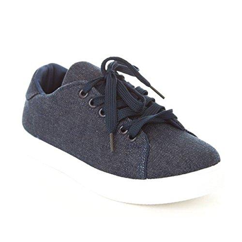 Scarpe Da Donna Di Soho Allacciate Le Originali Sneakers Basse Di Alta Moda Blu