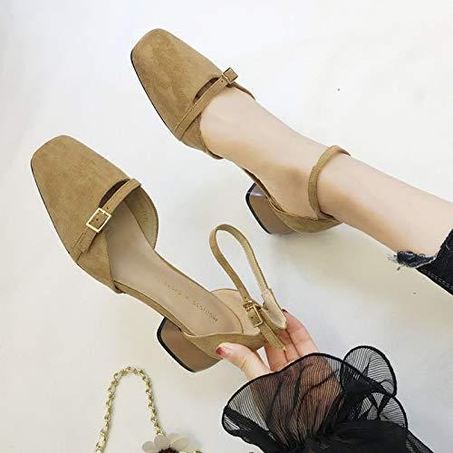 albicocca della joker tacchi cintura tacco 35 con fibbia spessa 4cm colore KOKQSX la scarpe mezzo retro Zwxq1W1SAn