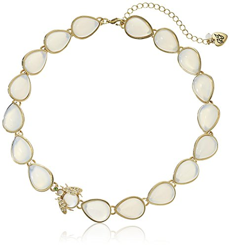 "Betsey Johnson ""Luminous Betsey"" Opal Stone and Bug Collar Necklace, 16"" + 3"" Extender"