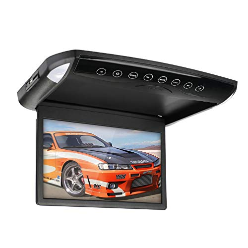 10.1 Flip Down Monitor 1080P HD LCDRoof Mount DVD Player Ultra Thin Flip Down Car DVD Player with SD USB MP3 MP4 LED Flip Down DVD Player for Car Vans Trucks SUVs by CarThree