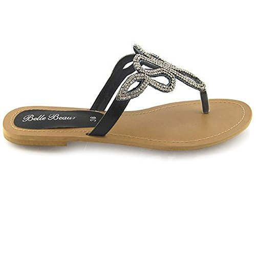 LADIES FLAT DIAMANTE SANDALS TOE POST WOMENS HOLIDAY DRESSY BLING PARTY SIZE 3-8 Black