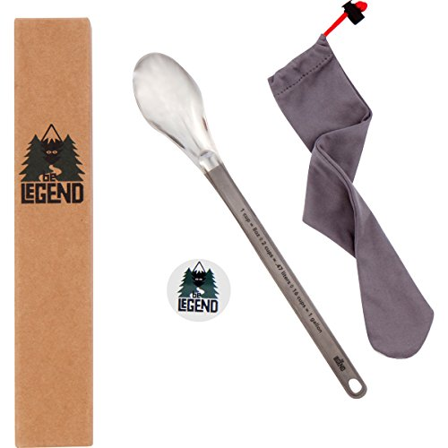 (Be Legend Titanium Camping Spoon Extra Long Handle (9.81 inches) with Conversion Table - Ultralight Backpacking Spoon)