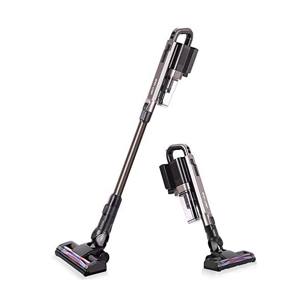 Cordless Vacuum Cleaner, 21 KPa Super Suction, Lightweight Handheld Stick Vacuum Cleaner Brushless Motor for Hard Floor, Pet Hair (2 Batteries)