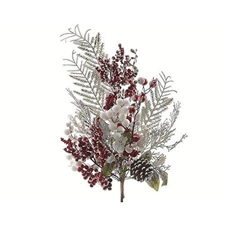 Tannenzweig mit roten und weißen Beeren 50cm // Tanne Spritzguss grün Basteln Dekozweige künstliche Tannenzweige