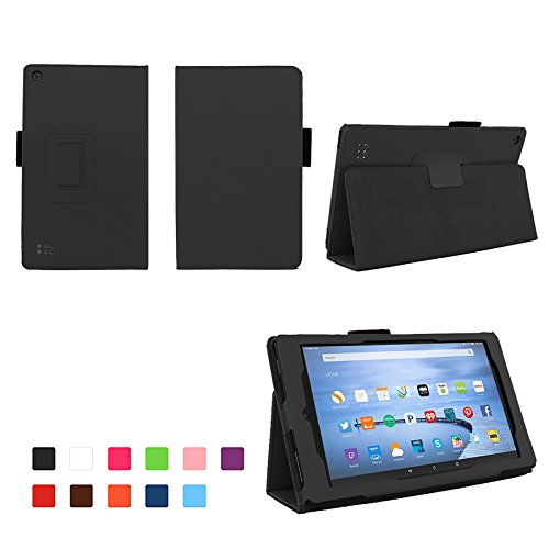 For Fire 7 2015 - Folio Case With Stand For Kindle Fire 7 (5th Generation, Sept 2015 Model) - Black Icon