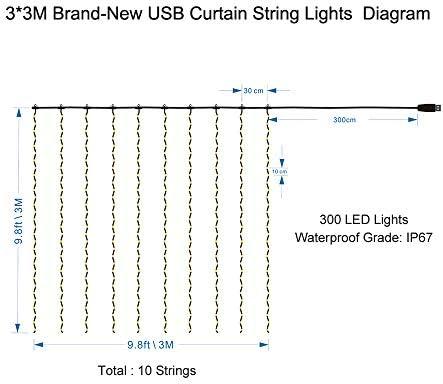Festnight Luces de Cortina de Ventana 300 LED String Lights 8 Modo ...