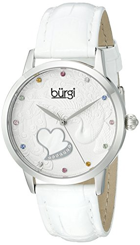 Burgi Women's BUR149WT Silver Quartz Watch With Swarovski Crystal Accented Dial and White Embossed Leather - Womens Heart Burgi