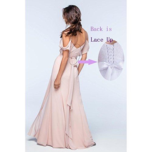 Bridesmaid Off Slit Dress Beauty The Purple Womens Long Bridal Side Chiffon Shoulder xxzpfZw