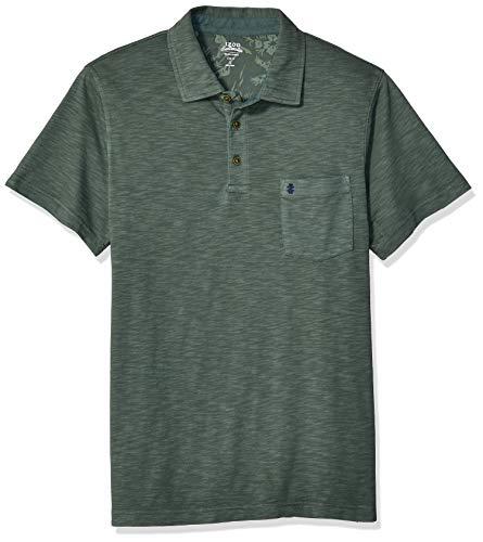 IZOD Men's Slim Fit Saltwater Dockside Short Sleeve Slub Solid Polo, Thyme, Large ()