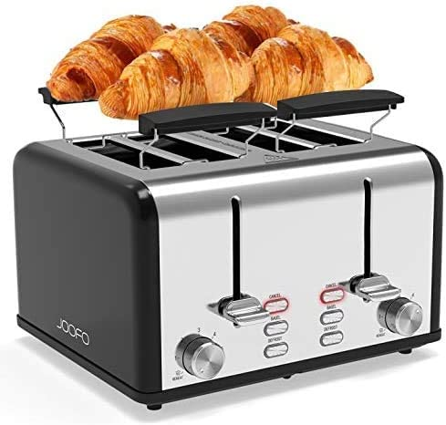 JOOFO Toaster 4 Slice, 6 Shade Settings Extra-Wide Slot Stainless Steel Toaster with Bagel, Cancel,Defrost,Reheat Function with Dual Control Panels, Removable Crumb Tray for Various Bread Types,Black