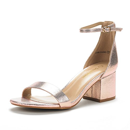 DREAM PAIRS Women's Low-Chunk Champagne Pearl Low Heel Pump Sandals - 5 M US ()
