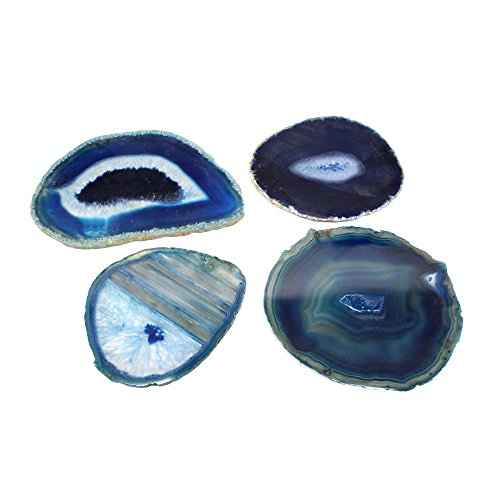 Rock Paradise Blue Agate Slices - Set of 4 - A Grade ~3-5 - Brazilian Agate And Crystals - Art Crafts - Geode Agate Slice with Exclusive COA