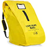 Travel Babeez Durable Car Seat Travel Bag, Airport Gate Check Bag with Easy-to-Carry Backpack-Style Shoulder Straps & Zipper Closure | Ballistic Nylon (Lemon Yellow)