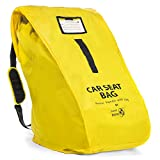Travel Babeez Durable Car Seat Travel Bag - Airport Gate Check Bag with Easy-to-Carry Backpack-Style Shoulder Straps & Zipper Closure | Ballistic Nylon (Lemon Yellow)