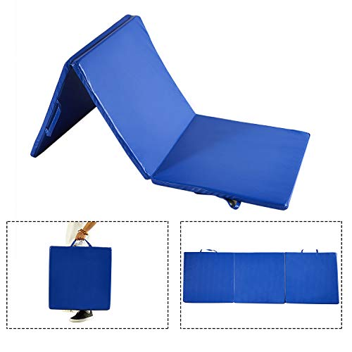 Doitpower 3 Fold Thick Gymnastic Mat with Handles and Zipper Home Exercise Equipment Gymnastic Equipment (blue)