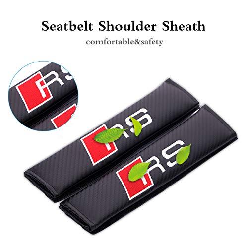 Velcro Seat Belt (Car seat belt shoulder strap Pad with velcro, Seat Belt Shoulder Strap Pad for adults, non slip Seat Belt Cover Cushion, Universal Seat Belt shoulder pad cover with Audi RS Logo)