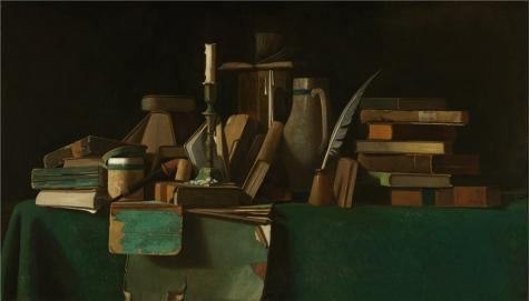 'John Frederick Peto,Books On A Table,about 1900' Oil Painting, 20x35 Inch / 51x89 Cm ,printed On Perfect Effect Canvas ,this Reproductions Art Decorative Canvas Prints Is Perfectly Suitalbe For Gym Decor And Home Gallery Art And Gifts