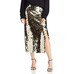 Women's All Over Sequin Skirt In Gold