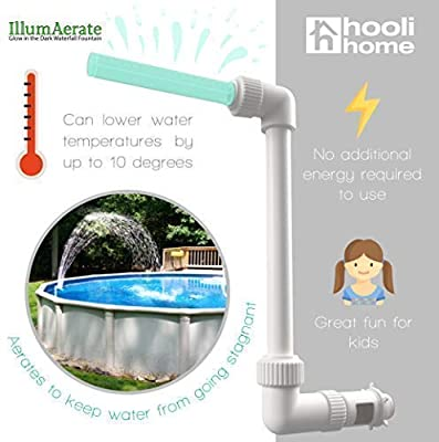 """Swimming Pool Accessories Waterfall Fountain - Cools Warm Pool Water Temperatures, Fits Most 1.5"""" InGround & Above Ground Return Jets, Sprinkler Head Glows in The Dark, Aerates for Fresh Pool Water"""
