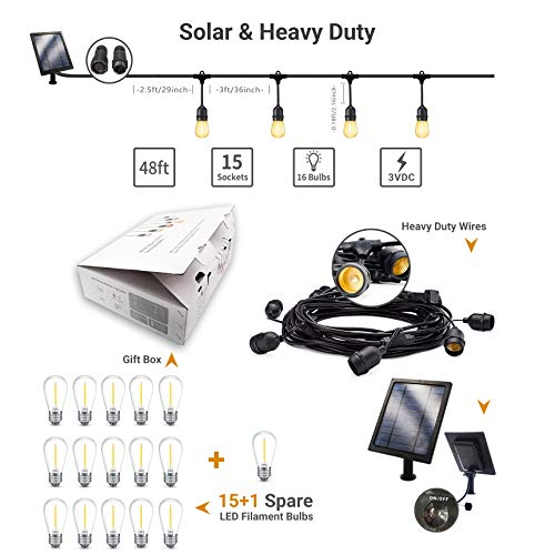 Fule Solar Outdoor String Lights,Heavy Duty S14 LED String Light 48FT,15 Hanging Sockets,1W Plastic Vantage Bulbs,Create Ambiance for Backyard Party Decoration/Cafe/Garden/Patio by Fule (Image #5)