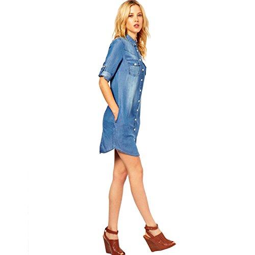 maniche Camicia Donna vestito arrotolate Blu Escalier denim dal Pulsante 6wvEnH